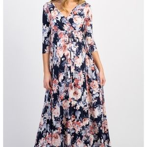 NWOT PinkBlush floral maternity wrap maxi dress